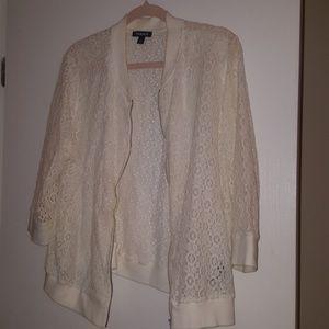 TORRID Cream Lace print jacket